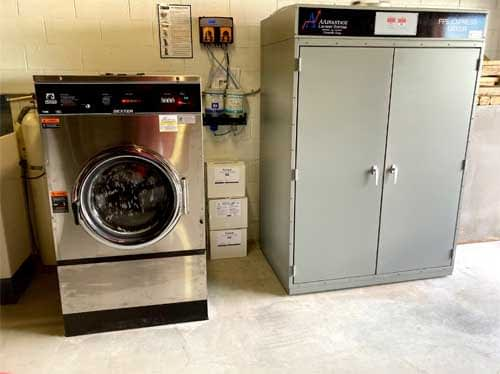 fire fighters with commercial laundry equipment
