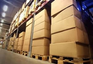 Picture of boxes on shelves in a warehouse